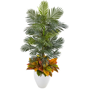 56 Areca Palm and Croton Artificial Plant in White Planter - SKU #8690