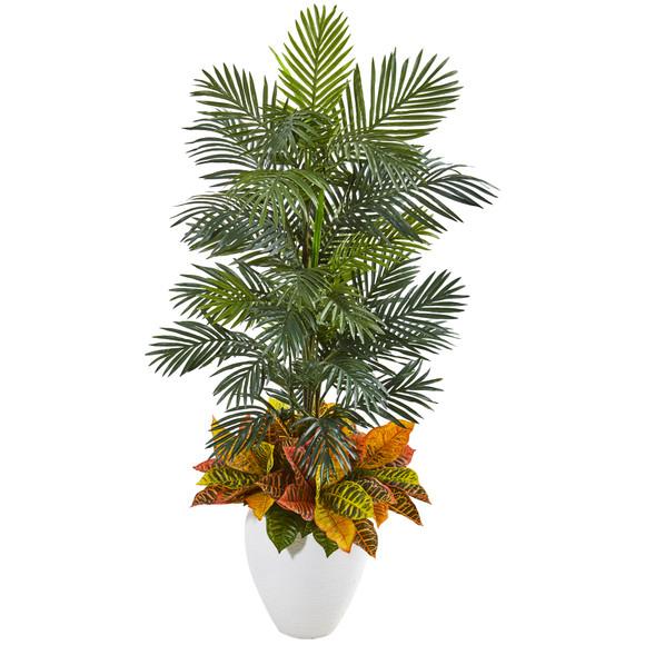 56 Areca Palm and Croton Artificial Plant in White Planter - SKU #8690