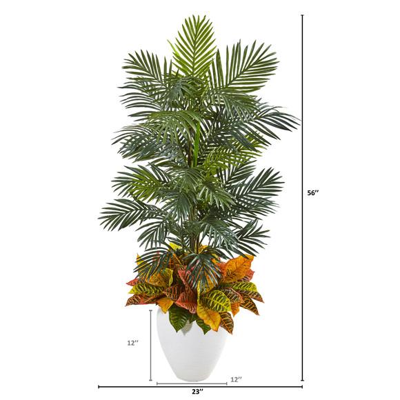 56 Areca Palm and Croton Artificial Plant in White Planter - SKU #8690 - 1