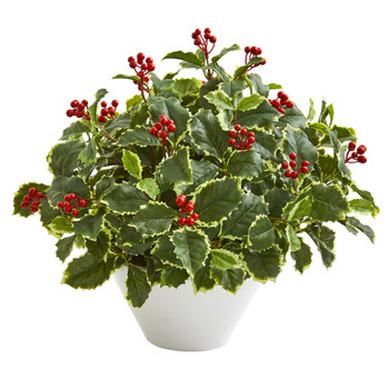 22 Variegated Holly Leaf Artificial Plant in White Vase Real Touch - SKU #8696