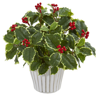 15 Variegated Holly Leaf Artificial Plant in Vase Real Touch - SKU #8698