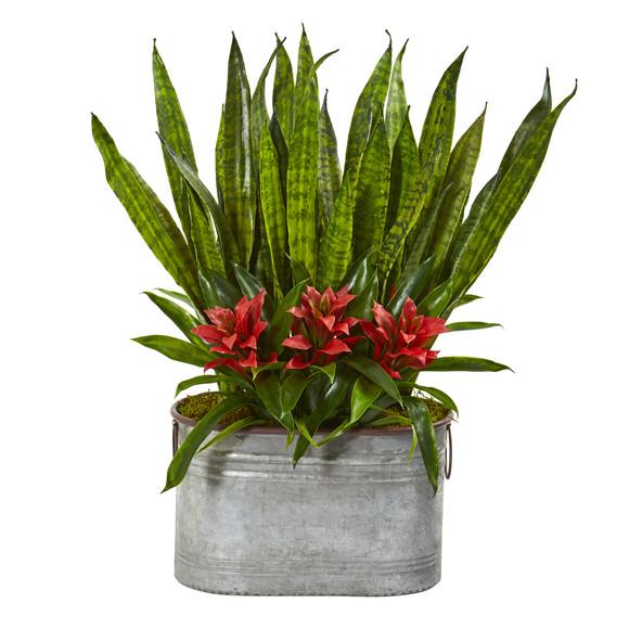 24 Bromeliad and Sansevieria Artificial Plant in Metal Planter - SKU #8699