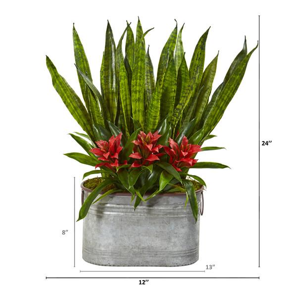 24 Bromeliad and Sansevieria Artificial Plant in Metal Planter - SKU #8699 - 1