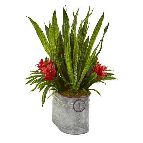 24 Bromeliad and Sansevieria Artificial Plant in Metal Planter - SKU #8699 - 2