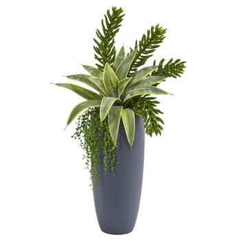 33 Sanseveria and Succulent Artificial Plant in Gray Planter - SKU #8714