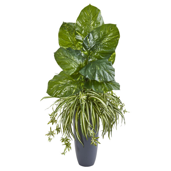 49 Spider and Pothos Artificial Plant in Gray Planter - SKU #8715