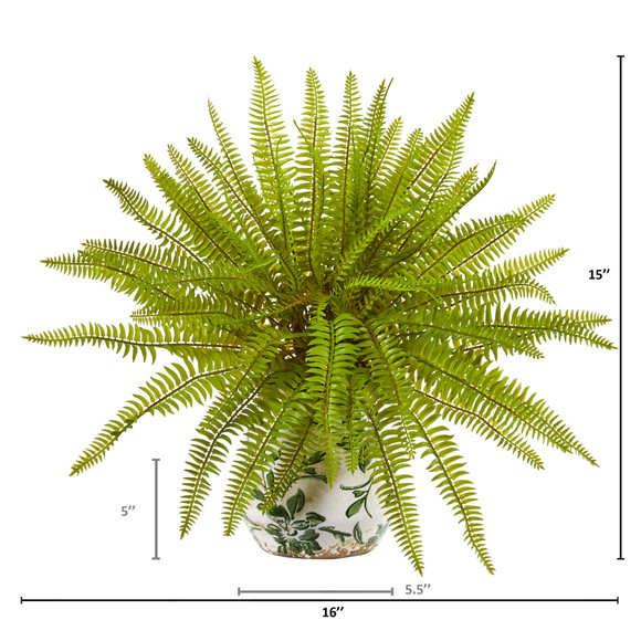 15 Fern Artificial Plant in Floral Planter - SKU #8717 - 1