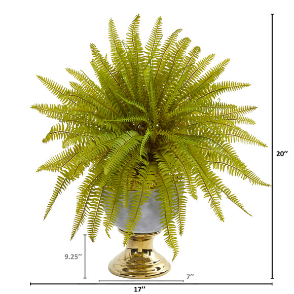 20 Fern Artificial Plant in Stoneware Urn - SKU #8718 - 1