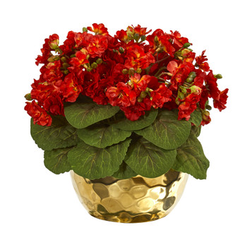 Violet Artificial Plant in Gold Vase - SKU #8720