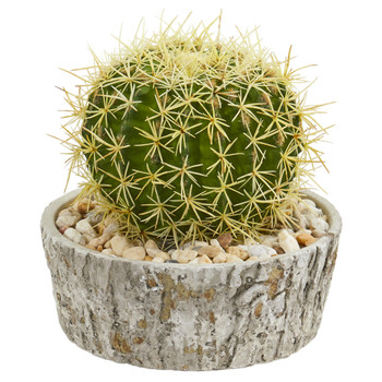 Cactus Artificial Plant in Weathered Oak Planter - SKU #8721