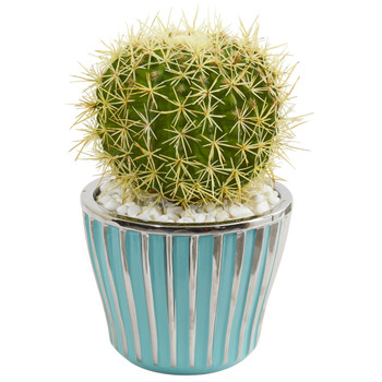 Cactus Artificial Plant in Turquoise Vase with Silver Trimming - SKU #8722
