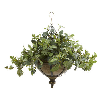23 Dusty Miller Artificial Plant in Hanging Bowl - SKU #8725