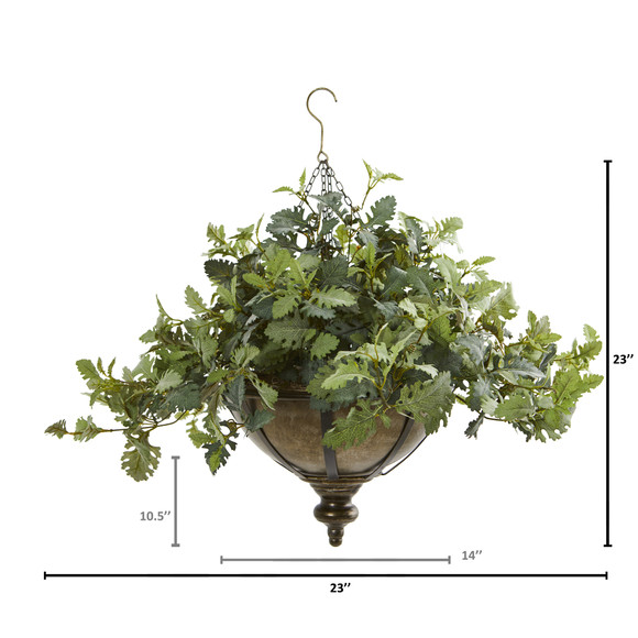 23 Dusty Miller Artificial Plant in Hanging Bowl - SKU #8725 - 1