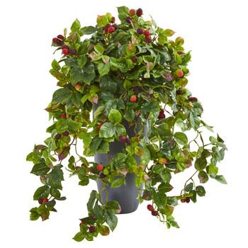 29 Raspberry Artificial Plant in Gray Planter - SKU #8727