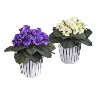 9 African Violet Artificial Plant in White Vase Set of 2 - SKU #8733-S2