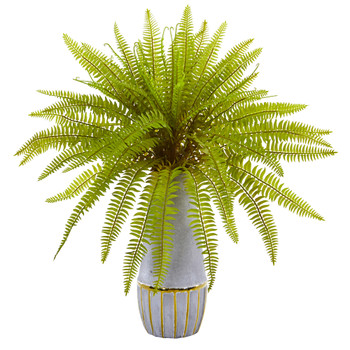 18 Fern Grass Artificial Plant in Stoneware Planter - SKU #8736