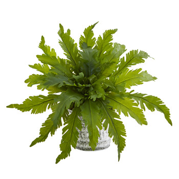 Fern Artificial Plant in Vintage Hanging Planter - SKU #8737