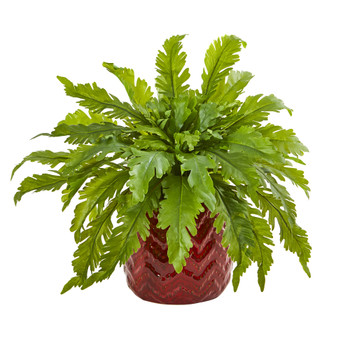 14 Fern Artificial Plant in Red Vase - SKU #8740
