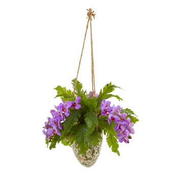 26 Phalaenopsis Orchid and Fern Artificial Plant in Hanging Vase - SKU #8744