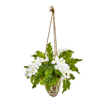 26 Phalaenopsis Orchid and Fern Artificial Plant in Hanging Vase - SKU #8744-WH