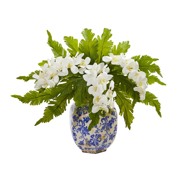 15 Phalaenopsis Orchid and Fern Artificial Plant in Vase - SKU #8745-WH
