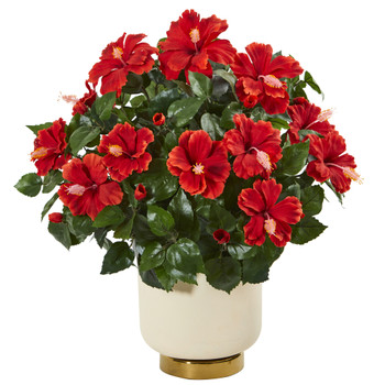 22 Hibiscus Artificial Plant in White Bowl - SKU #8746