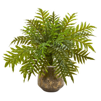 24 Hares Foot Fern Artificial Plant in Vase Real Touch - SKU #8747