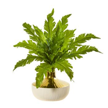 16 Fern Artificial Plant in Designer Vase - SKU #8748