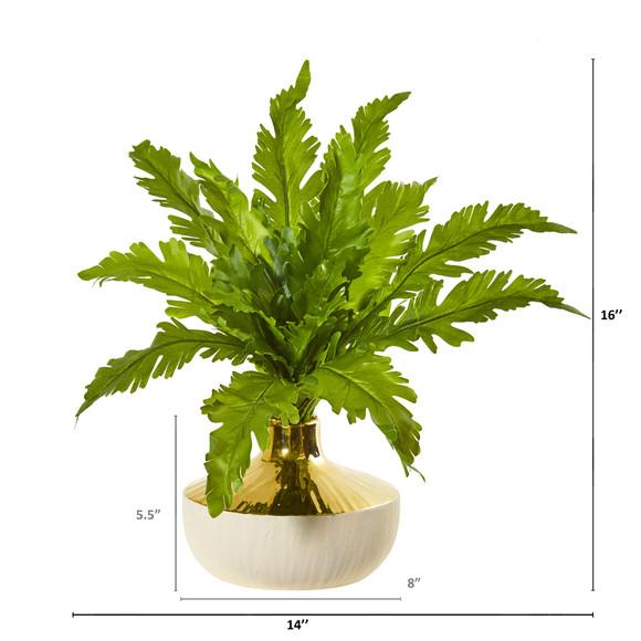 16 Fern Artificial Plant in Designer Vase - SKU #8748 - 1