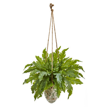 29 Fern Artificial Plant in Hanging Vase - SKU #8752