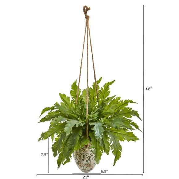 29 Fern Artificial Plant in Hanging Vase - SKU #8752 - 1