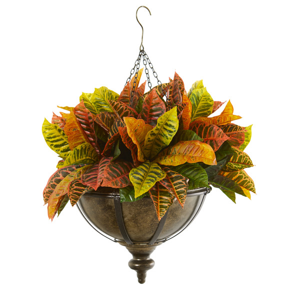26 Garden Croton Artificial Plant in Hanging Metal Bowl Real Touch - SKU #8753
