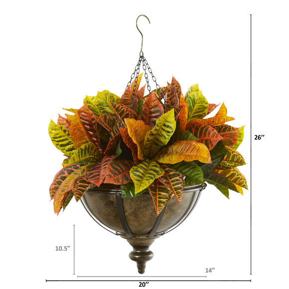 26 Garden Croton Artificial Plant in Hanging Metal Bowl Real Touch - SKU #8753 - 1