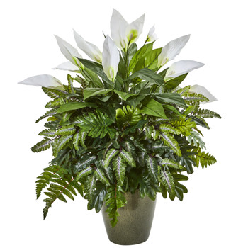 31 Mixed Spathiphyllum Artificial Plant in Green Planter - SKU #8755