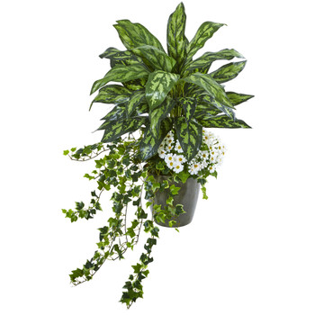 35 Silver King Ivy and Daisy Artificial Plant in Decorative Planter - SKU #8758