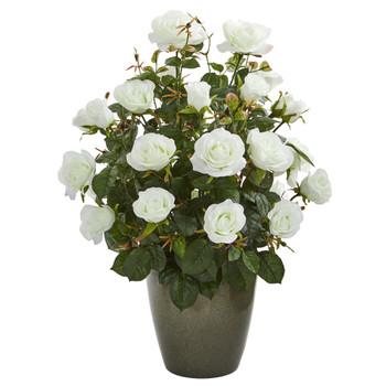 26 Garden Rose Artificial Plant in Green Planter - SKU #8762