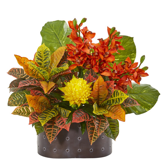 28 Cymbidium Orchid Bromeliad Croton and Pothos Artificial Plant - SKU #8765