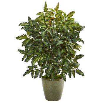 30 Bracken Fern Artificial Plant in Green Planter - SKU #8771