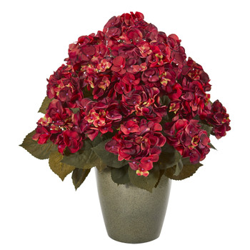23 Fall Hydrangea Artificial Plant in Green Planter - SKU #8772