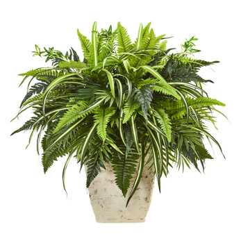 23 Mixed Greens and Fern Artificial Plant in White Planter - SKU #8774