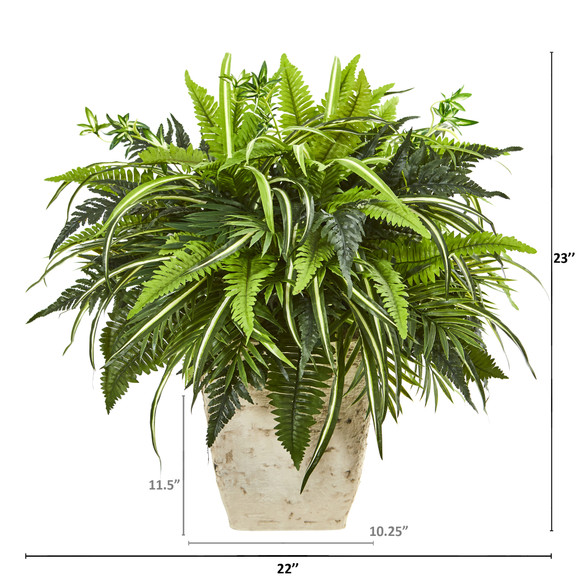23 Mixed Greens and Fern Artificial Plant in White Planter - SKU #8774 - 1