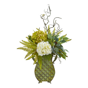 25 Hydrangea Ficus and Fern Artificial Plant in Metal Planter - SKU #8788