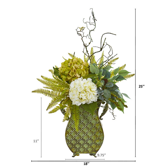 25 Hydrangea Ficus and Fern Artificial Plant in Metal Planter - SKU #8788 - 1