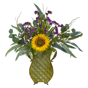 25 Sunflower Eucalyptus and Berries Artificial Plant in Metal Planter - SKU #8789