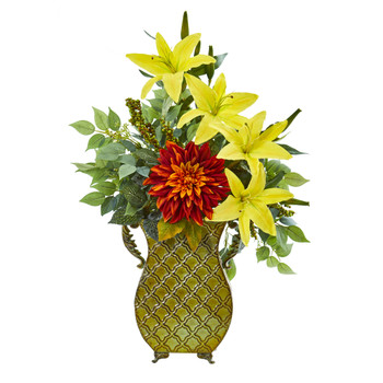 25 Dahlia Lily and Ficus Artificial Plant in Metal Planter - SKU #8790
