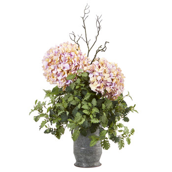 44 Hydrangea and Dusty Miller Artificial Plant in Metal Urn - SKU #8800