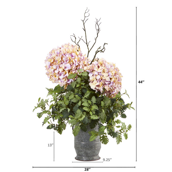 44 Hydrangea and Dusty Miller Artificial Plant in Metal Urn - SKU #8800 - 1