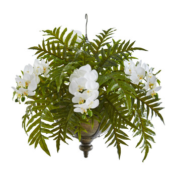 Phalaenopsis Orchid and Fern Artificial Plant in Metal Hanging Bowl - SKU #8801-CR