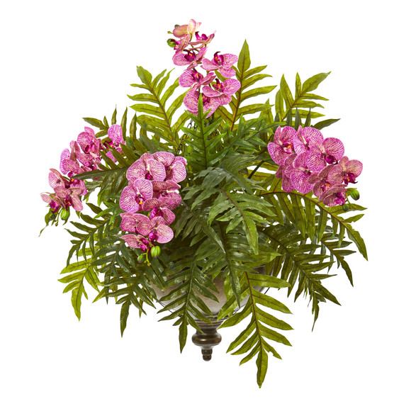 Phalaenopsis Orchid and Fern Artificial Plant in Metal Hanging Bowl - SKU #8801 - 4