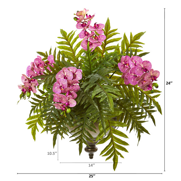 Phalaenopsis Orchid and Fern Artificial Plant in Metal Hanging Bowl - SKU #8801 - 5